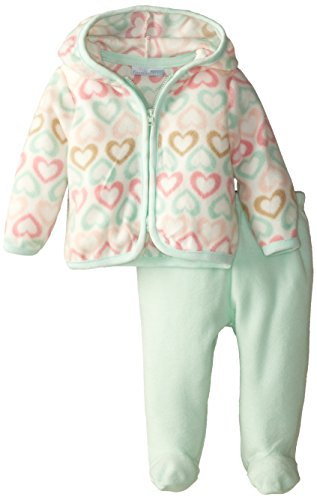 Vitamins Baby Baby-Girls Heart Print 2 Piece Hooded Pant Set, Green, 9 Months