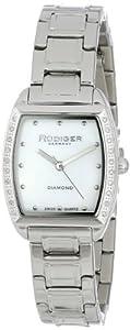 Rudiger Women's R2600-04-009 Bonn Stainless Steel Tonneau Mother-Of-Pearl Diamond Watch