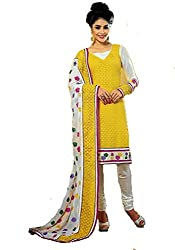 FadAttire Unstitched Dress Material made of Premium Georgette Material-Yellow-ACMP05