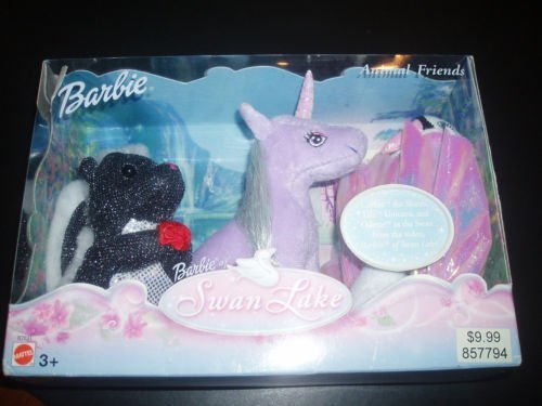 Barbie of Swan Lake Animal Friends: CARLITA-THE SKUNK, LILA- THE UNICORN & ODETTE AS THE SWAN!