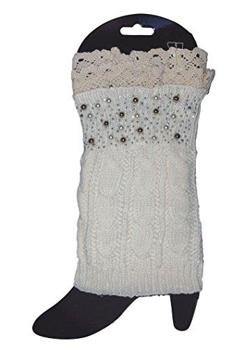 Adorable Beaded Short Leg Warmers / Boot Socks Topper Cuffs (Cream) (Rain Boot Short Socks compare prices)