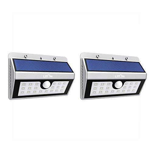 Litom 2 Packs Lamparas Solares Inalambrico 20 LEDs Lampara de pared con Sensor de Movimiento para Escalera Pasillo Jardin (20 LEDs(plata))