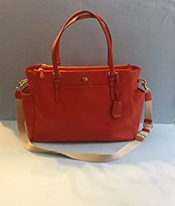 Coach Peyton Saffiano Multifunction Tote Diaper Travel Laptop Shoulder Messenger Bag Persimmon from Coach