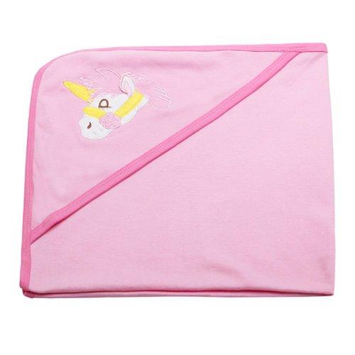 Dele Summer Baby Receiving Quilt/ Receiving Blanket/ Newborn Pure Cotton Cartoon Embroidered Blanket (Pink Horse) front-708598