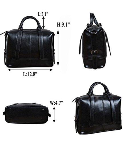 Maison De Decoration©Style vintage en cuir de vache de la femme Top Handle épaule Cross Body Bag (Noir)