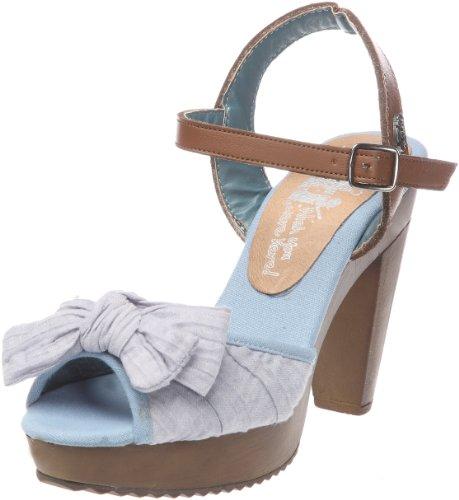 XTI 74706_Azul - Sandalias de cuero para mujer, color azul, talla 37