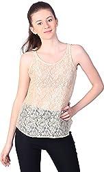 Unimod Women's Net Regular Fit Top (U055_Golden_S, Golden, S)