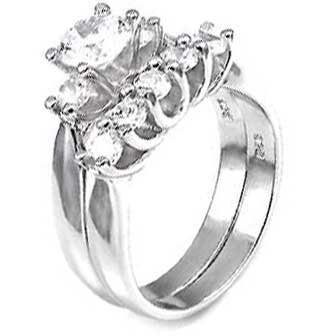 Sterling Silver Wedding Ring Set with Round Cubic Zirconia and Two Sidestones in Shared Prong Setting