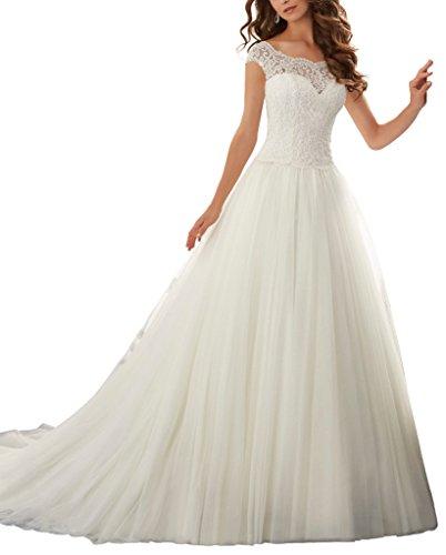 VenusDress Simple Long A-Line Cap Sleeve Train Lace Wedding Dresses