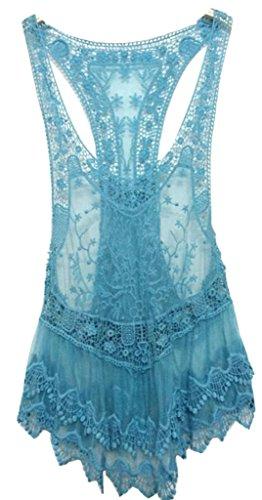 Women's Floral Sleeveless Vintage Crochet Knit Lace Vest Tank Top Shirt