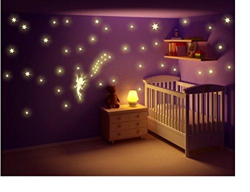 stickerkoenig kinderzimmer wandtattoo leuchtsticker fee elfe mit leuchtpunkten und. Black Bedroom Furniture Sets. Home Design Ideas