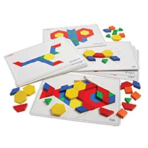 Wood Pattern Blocks w/Activity Cards -Learning Activity