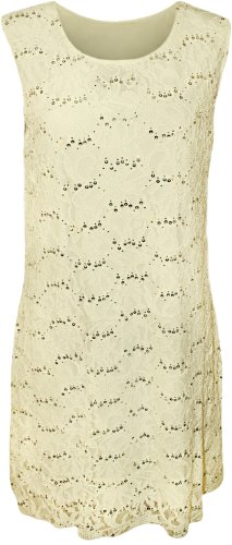 Wearall Women'S Plus Size Lace Sequin Sleeveless Dress - Cream - Us 20-22 (Uk 24-26)