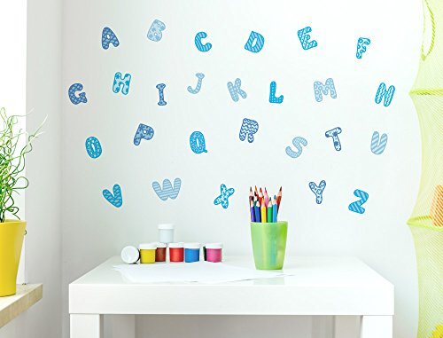 i love wandtattoo was 10208 kinderzimmer wandtattoo set alphabet blau mit mustern 26. Black Bedroom Furniture Sets. Home Design Ideas