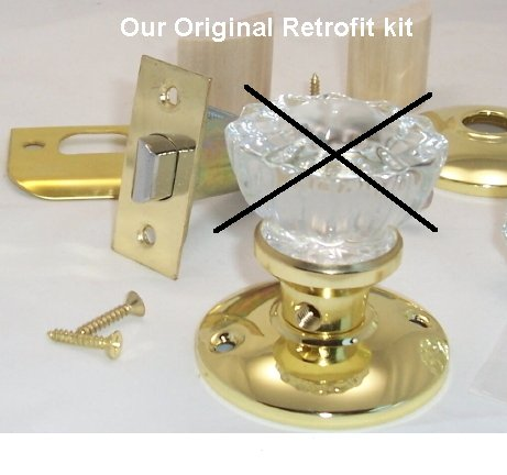Our Original Retrofit Kit to INSTALL YOUR ANTIQUE KNOBS in MODERN DOORS Pre-Drilled Doors, Time tested and a very affordable price for a home owner to instal. Satisfaction guaranteed and Real Customer Service.
