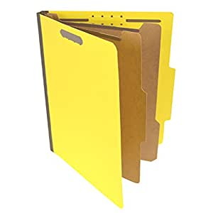 Pressboard Classification Partition Folder, 2 Dividers, 2-Inch Expansion, 2/5 Cut Tab, Yellow, Letter Size, Box of 15