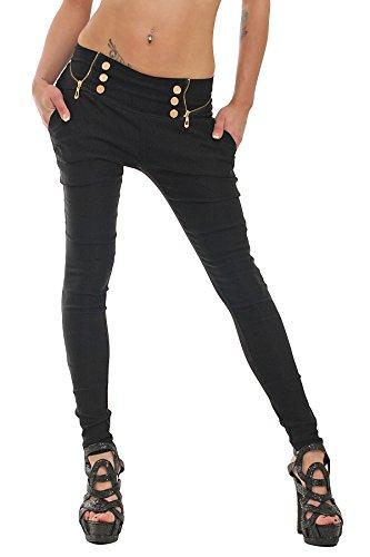 10037 Fashion4Young Damen Treggings Hose aus elastischem Stretch-Material verfügbar in 5 Größen 3 Farben