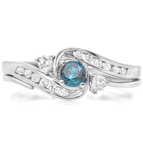 0.50 Carat (Ctw) 14K White Gold Round Blue & White Diamond Swirl Bridal Engagement Ring Set (Size 8)