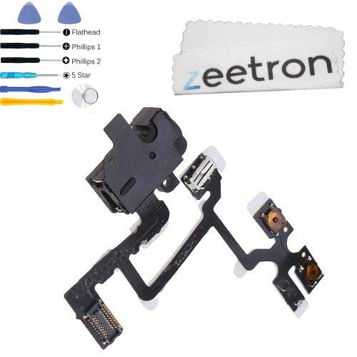 Iphone 4 Headphone Audio Jack Flex Cable Black + 7 Piece Opening Tool Kit + Zeetron Microfiber Cloth (9 Piece Kit)