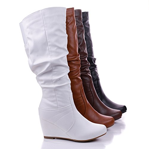 Women's Faux Leather Calf High Slouch Boots w/ Low Wedge & Elastic Back
