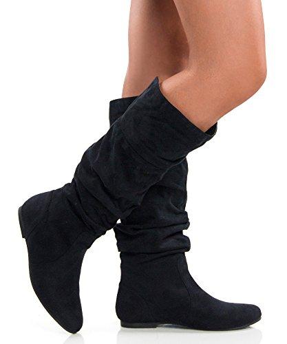 rof s basic slouchy knee high flat boot black blue