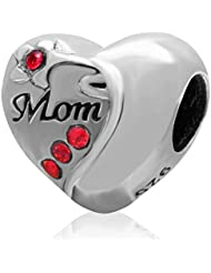 Choruslove Mother Gift 925 Sterling Silver Heart Love Mom Bead With Red Crystal For European Charm Bracelet