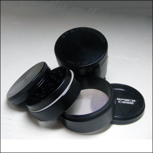 SPACE CASE® Grinder Sifter Mag. 4 Pc. Medium Titanium + Cali Crusher® Pollen Press (SCT-4 (M)+CCP)