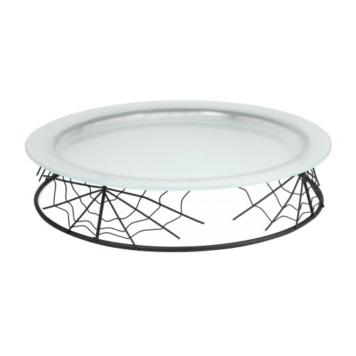 Pfaltzgraff Happy Halloween Spider Web Glass Platter with Metal Stand