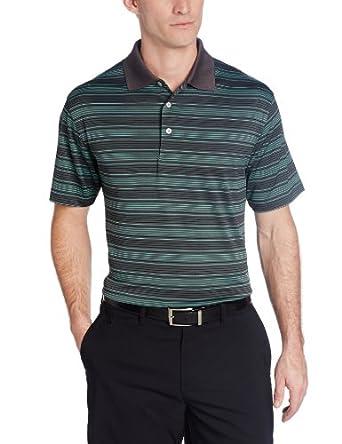 PGA TOUR Men's Performance Golf Stripe Short Sleeve Polo Shirt, Asphalt, Small