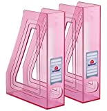 Acrimet Magazine File Holder (Pack with Two) Clear Pink Color