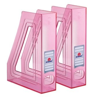 Acrimet Magazine File Holder (Clear Pink Color) (2 - Pack)