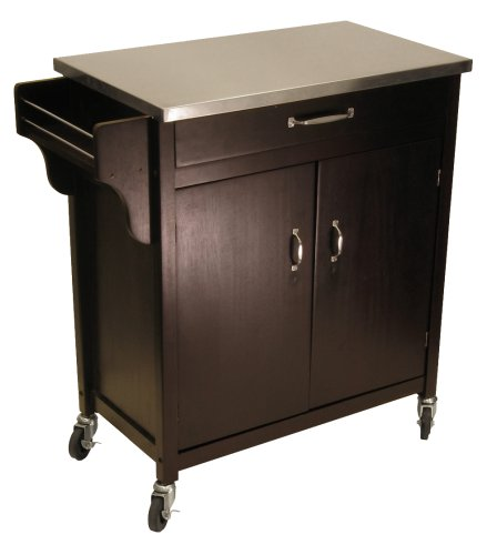 Jkabijit Sale Cheap Winsome Wood Kitchen Cart With Stainless Steel Top Espresso