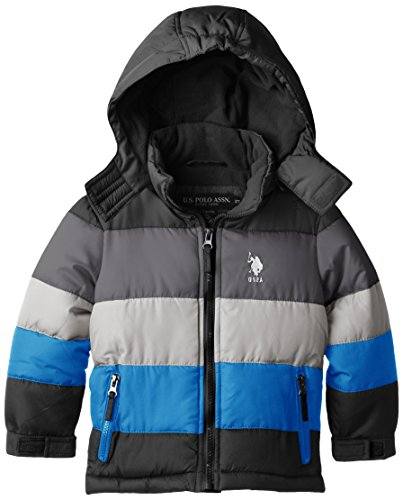 U.S. Polo Association Little Boys' Striped Bubble Jacket With Detachable Hood, Black/Charcoal, 2T