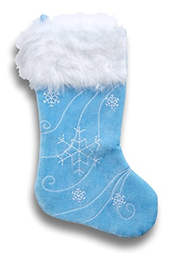 Christmas Stocking Plush Blue Snowflake - 18