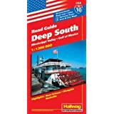 Hallwag USA Road Guide, No.10, Deep South: Mississippi Valley. Gulf of Mexico. Area and City Maps. Highlights:...