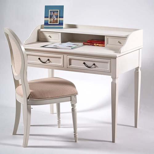 Kinderschreibtisch weiß landhaus  Landhaus Schreibtisch / Sekretär TOULOUS, creme-weiß, 100x52x90cm ...