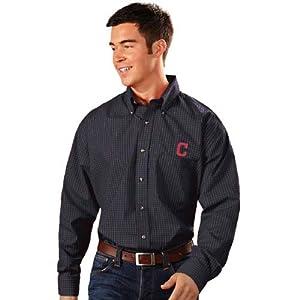 Cleveland Indians Esteem Button Down Dress Shirt (Team Color) by Antigua