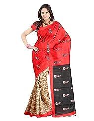 Parichay Women's Bhagalpuri Silk Saree(Red, Black)