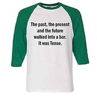 Amazon.com: The Past Present Future Tense Bar Raglan