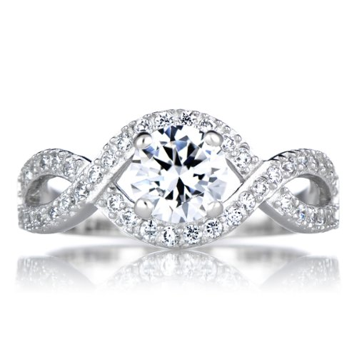 Dorothea'S Round Cut Twisted Band Cz Engagement Ring - Size 7