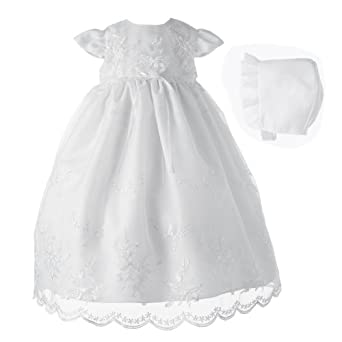 Lauren Madison Baby-Girls Newborn Christening Baptism Special Occasion Organza Floral Embroidered Dress Gown Outfit with Pearl Trim., White, 0-3 Months