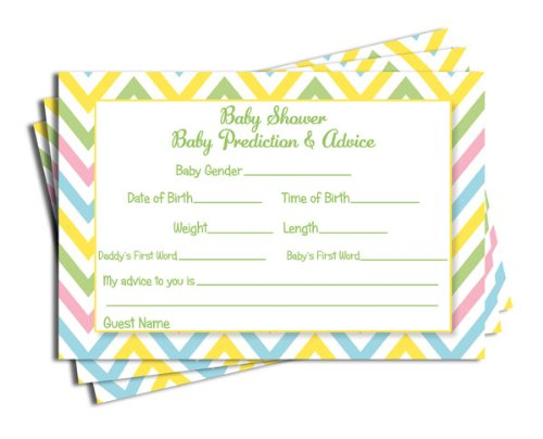 Baby Shower Chevron Advice & Prediction Cards Neutral Baby Shower Games (50-cards) - 1