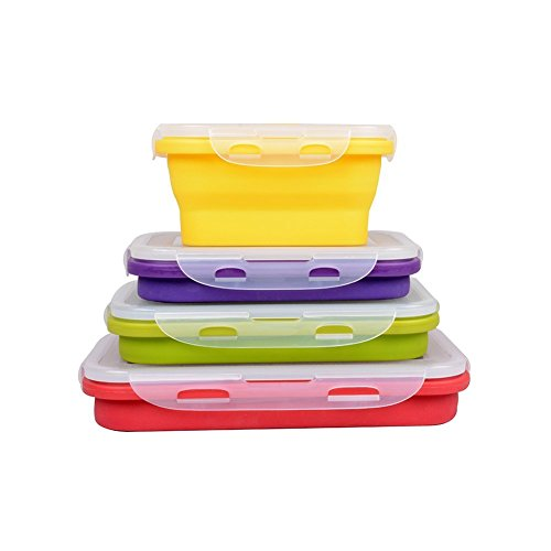 4 Pack (350ML , 540ML , 800ML , 1200ML) Elegant, Fashionable & Stackable Food Storage Containers, Silicone Collapsible Lunch Bento Box, Freezer to Oven Safe, Set of 4 (Collapsible Storage Containers compare prices)