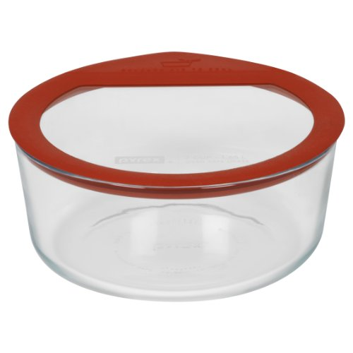 Pyrex No Leak Glass Storage Container With Lid, 7-Cup, Round