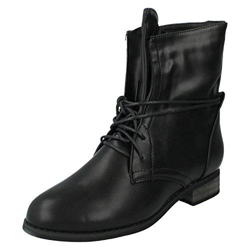 Donna a pois stivali alla caviglia stile-f50208, nero (Black), 39