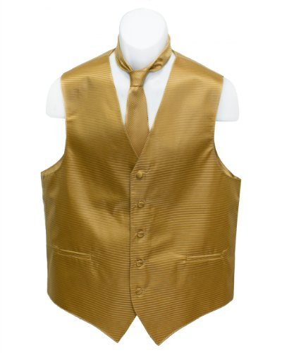 Fine Brand Shop Men's Gold Color Horizontal Striped Jacquard Suit Vest and Neck Tie Set - X-Small