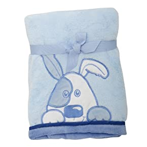 Baby Boy Blue Dog Design Fleece Pram Blanket Bedding (Ideal Gift)