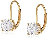 Platinum-Plated Sterling Silver Swarovski Zirconia Leverback Earrings by Elite Group International NY Inc.- ACC