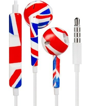 True Stunning England National Flag Design 3.5Mm Plug Earphones/Earbuds With Volume Control & Microphone For Iphone, Ipad, Ipad Mini (Red)