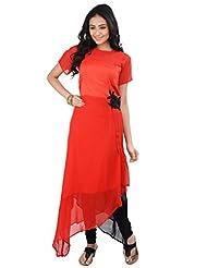 Aparnaa Red & Black Stylish Party Wear Kurti
